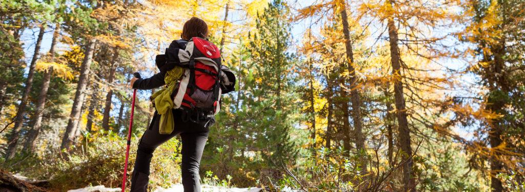 Frau mit Wanderrucksack im Wald